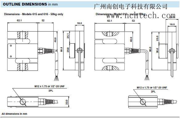 【616-750kg】美国特迪亚616-750kg称重传感器,tedea
