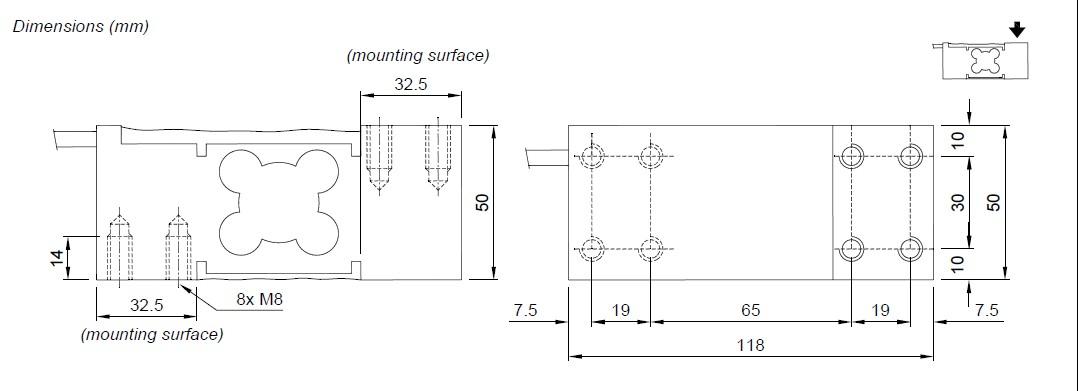 PE-300kg称重传感器:称重传感器必须放置在刚性和稳定的结构,使用安装套件,用于称重传感器来是很重要的补偿所述支撑板的错位。保护细胞的电缆:使用防水刀套和关节,以保护细胞的电缆。机械束缚(管道等) :当管道都存在,我们建议使用软管和挠性联轴器与开放的喉舌带橡胶保护,以防硬管道,将管道支撑或锚支架尽可能从称重结构(至少40管道的倍径) 。 LAUMAS PE-300kg传感器在并联负载细胞:用防水接线盒与接线盒深入开展细胞的并联连接。结盒提供了达8个电缆接头加上一个电缆接头的线缆出口。扩展电缆,连接到负