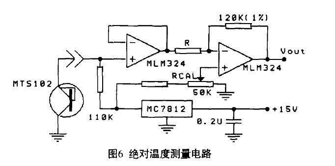 温度传感器的输出接到同相单位增益缓冲放大器(它由1 /4的mlm324运放